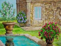 Villa avec la piscine se reflétante Photo libre de droits