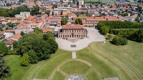 Villa Bagatti Valsecchi, villa, luchtmening, 18de eeuw, Italiaanse villa, Varedo, Monza Brianza, Lombardije Italië Royalty-vrije Stock Afbeeldingen