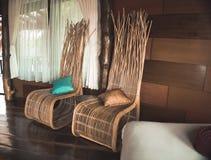 Luxury bedroom in the villa stock photos