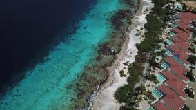 Villa beach coast Bonaire island Caribbean sea aerial drone top view 4K UHD video. Aerial view DJI pro drone top view 4K UHD video stock video footage