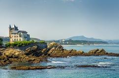 Villa Belsa and the coast, Biarritz. Stock Photos