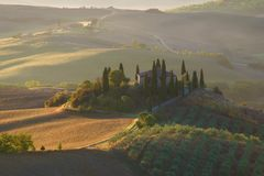 Villa Belvedere in the morning September landscape. Tuscany, Italy Royalty Free Stock Photography