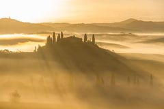 Villa Belvedere in San Quirico d'Orcia. Picture was taken early spring morning. Italy, Tuscany Royalty Free Stock Photo