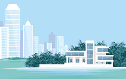Villa and big city. Abstract image of a large, beautiful country house on a background of a modern metropolis. Luxury Villa on the seafront, surrounded by palm Stock Photography