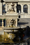 Villa Borghese fountain. Baroque fountain in Villa Borghese public park with crowned eagle, symbol of the ancient noble family royalty free stock photo