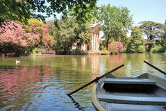 Villa Borghese gardens & boat Stock Photo