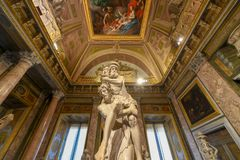 Villa Borghese - Rome, Italy. Rome, Italy - March 25, 2018: Marble statues in Villa Borghese in Rome, Italy royalty free stock images