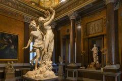 Villa Borghese - Rome, Italy. Rome, Italy - March 25, 2018: Marble statues in Villa Borghese in Rome, Italy stock photos