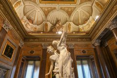 Villa Borghese - Rome, Italy. Rome, Italy - March 25, 2018: Marble statues in Villa Borghese in Rome, Italy stock photo