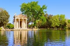 Villa Borghese in Rome. Temple of Esculapio, Pincian Hill, Italy stock photos
