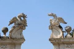 Villa Borghese. Statues of dragons of the villa Borghese in Rome stock photos