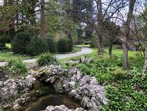 Villa Boveri Park or Der Garten der Villa Boveri or Landschaftsgarten Parkanlage der Villa Boveri, Baden. Canton of Aargau, Switzerland royalty free stock image