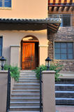 Villa building under sunset lighting. A small villa building detail and lighting of sunset on door and wall, shown as architecture geometric detail and beautiful Stock Photos