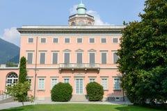 Villa Ciani op botanisch park van Lugano stock foto