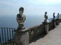 Villa Cimbrone balcony, Amalfi Coast, Italy. Some statues of the balcony on the sea at the famous Villa Cimbrone, in Ravello, Amalfi Coast, Italy Stock Images