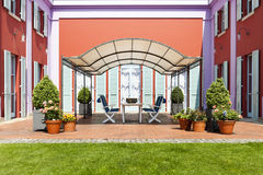 villa in classic style, view from the garden Stock Images