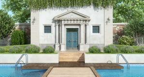 Villa classica con il giardino di lusso con lo stagno illustrazione di stock