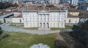 Villa Cusani Tittoni Traversi, panoramautsikt, flyg- sikt, Desio, Monza och Brianza, Italien arkivfoto
