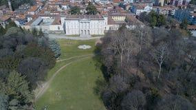 Villa Cusani Tittoni Traversi, panoramautsikt, flyg- sikt, Desio, Monza och Brianza, Italien arkivbild