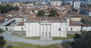 Villa Cusani Tittoni Traversi, panoramic view, aerial view, Desio, Monza and Brianza, Italy. Villa Cusani Tittoni Traversi, panoramic view, aerial view, Desio Stock Photography