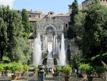 Villa d'Este garden with fountains and antique statues Royalty Free Stock Photography