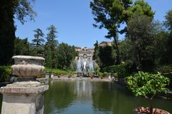 Villa d`Este, nature, water, garden, tourist attraction. Villa d'Este is nature, tourist attraction and watercourse. That marvel has water, tree and water stock images