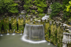 Villa d este in tivoli, italy, europe. Waterfall and garden of the villa of cardinal Ippolito d`Este, Tivoli, Italy Royalty Free Stock Photography