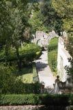 Villa d`Este Tivoli, Italy - SEPTEMBER 6, 2016. Alley fountains stock photo