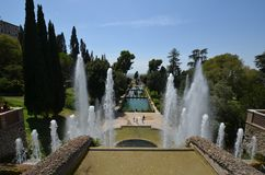 Villa d`Este, water, fountain, water feature, tree. Villa d'Este is water, tree and landscape. That marvel has fountain, tourist attraction and leisure and that stock images