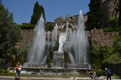 Villa d`Este, water, fountain, water feature, tourist attraction. Villa d'Este is water, tourist attraction and city. That marvel has fountain, watercourse and royalty free stock photo