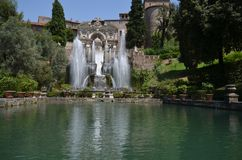 Villa d`Este, water, nature, body of water, fountain. Villa d'Este is water, fountain and tree. That marvel has nature, water feature and tourist attraction and stock image