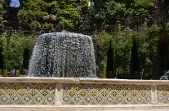 Villa d`Este, water, nature, fountain, water feature. Villa d'Este is water, water feature and memorial. That marvel has nature, tree and grass and that beauty royalty free stock image