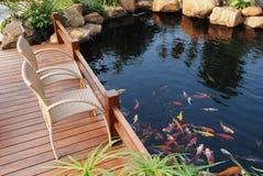 villa d'étang de jardin de poissons de famille Photographie stock