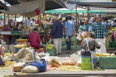 General view of the local market stock images