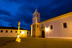 Villa de Leyva at night in Colombia. Church building at night in Villa de Leyva Colombia royalty free stock images