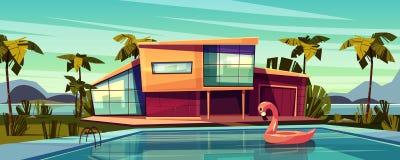 Villa de luxe avec le vecteur de bande dessinée de piscine illustration libre de droits