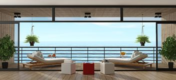 Villa de vacances avec la véranda en bois Images libres de droits