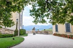 Villa del Balbianello green garden. Lake Como on background. Lenno, Italy royalty free stock photos