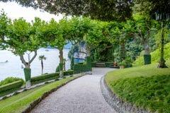 Villa del Balbianello green garden. Lake Como on background. Lenno, Italy stock image