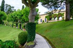Villa del Balbianello green garden. Lenno, Italy royalty free stock photography