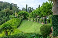 Villa del Balbianello green garden. Lenno, Italy stock photo
