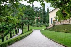 Villa del Balbianello green garden. Lenno, Italy royalty free stock image