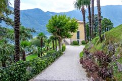 Villa del Balbianello green garden. Summer house. Lenno, Italy royalty free stock photography