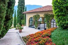 Villa del Balbianello green garden. Summer house. Lenno, Italy royalty free stock images