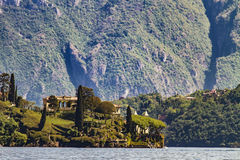 Villa del Balbianello on Lake Como in Italy. View at Villa del Balbianello on Lake Como in Italy royalty free stock image