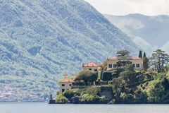 Villa del Balbianello on Lake Como. In Italy royalty free stock images
