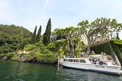 Villa del Balbianello on a lake, landmark in Italy. Villa del Balbianello overlooking Lake Como stock photography