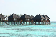 Villa del vater delle Maldive Fotografia Stock Libera da Diritti
