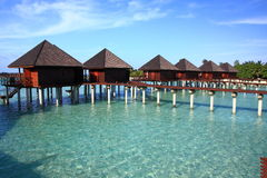 Villa dell'acqua nei maldives Fotografia Stock Libera da Diritti