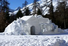 Villa della neve Fotografia Stock